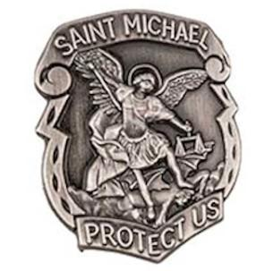 St. Michael Protect Us Pin Silver Police