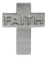Faith Cross Lapel Pin Silver  (12 Pins)