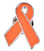 Orange Awareness Ribbon Metal Pins (Pkg of 12)