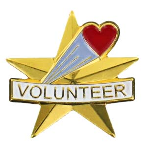 Volunteer Star Lapel Pin w/ Red Heart