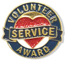 Volunteer  Service Heart Lapel Pin Gold