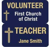 Custom Magnetic 1 1/2 x 3 inch Volunteer - Christian Teacher Badge