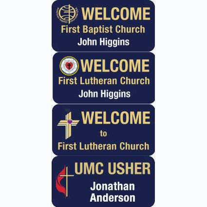 Custom Magnetic 1 1/2 x 3 inch Welcome - Usher - Greeter Badge