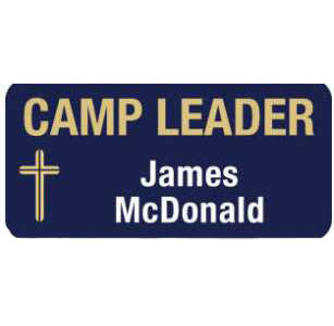 Custom Magnetic 1 1/2 x 3 inch Camp Leader Badge