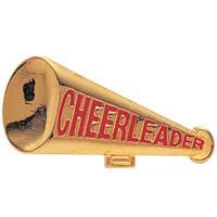 Cheerleader Megaphone Lapel Pin Gold Plated