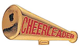 Cheerleader Megaphone Lapel Pin Gold Plated
