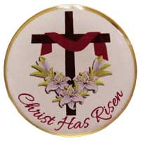 Easter Lily and Cross Gold Button Pin
