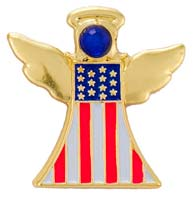 Patriotic USA Guardian Angel Flag Pin