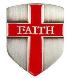 Faith Shield Pin Antique Silver