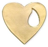 Memorial Heart, Tear Drop Pin Gold
