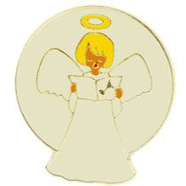Choir Singing Angel Lapel Pin White