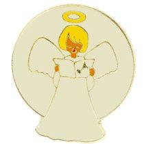 Singing Angel Lapel Pin White