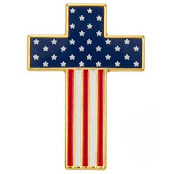 American Flag Cross Pin - USA Flag Cross Patriotic Pin
