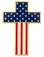 American Flag on Cross Pin USA