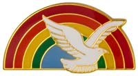 Dove and rainbow lapel pins