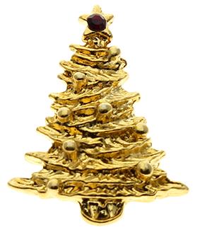 Gold Christmas Tree Pin With Christmas Star