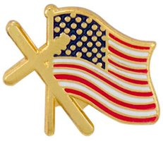 Cross  American Flag Lapel Pin Gold USA