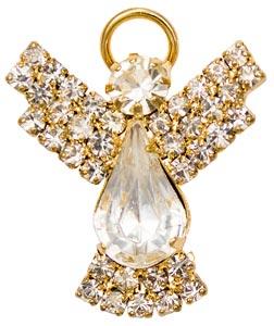 Gold Rhinestone Angel Pin