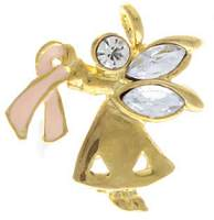 Breast Cancer Angel Pin Ribbon Rhinestone