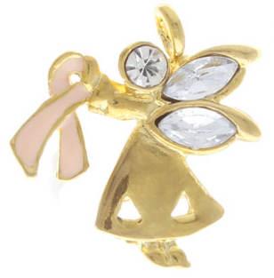 Breast Cancer Angel Rhinestone Pin Awareness