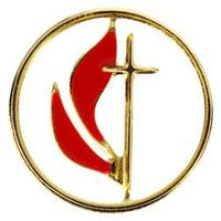 United Methodist Pierced Pin Cross & Flames