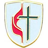 United Methodist Pin Cross and Flame Shield Gold