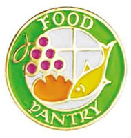 Food Pantry Worker Lapel Pin With Cross