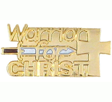 Warrior for Christ Pin with Cross & Sword - Gold