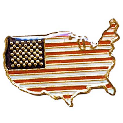 American Flag on US Map Lapel Pin