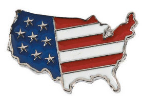 American Flag on USA Map Lapel (Pkg of 12)