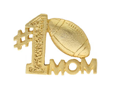 Number #1 Football Mom Pin Gold Plated