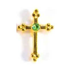 August Birthstone Cross Gold Pin