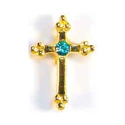December Birthstone Cross Gold Pin