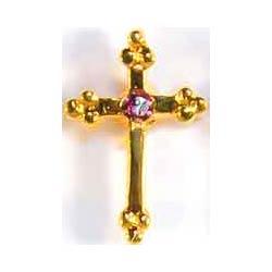 February Birthstone Cross Gold Pin