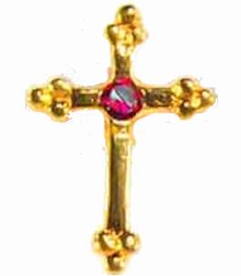 Birthstone Gold Cross Pin