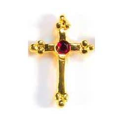 July Birthstone Cross Gold Pin