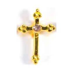 June Birthstone Cross Gold Pin