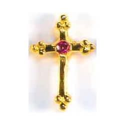 October Birthstone Cross Gold Pin