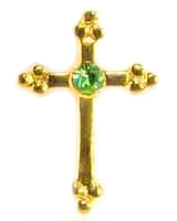 24kt Gold Plated Birthstone Cross Pin