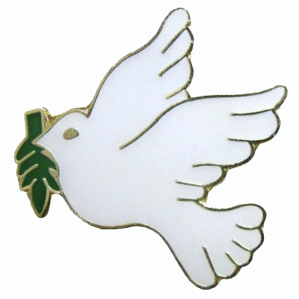 Dove with Olive Branch Pin, Peace Pin