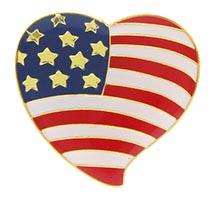 USA American Flag in Heart Pin