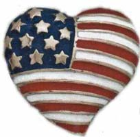 American Flag in Heart Lapel Pins