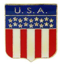 USA Flag Shield Lapel Pin American