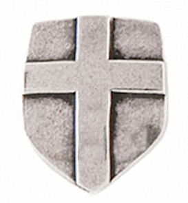Lapel Pin - Shield with Cross Pewter