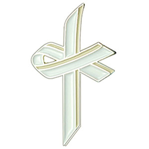 White Awareness Cross Lapel Pin