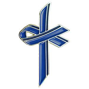 Blue Awareness Cross Lapel Pin