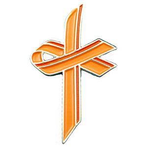 Orange Awareness Cross Lapel Pin