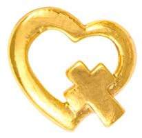 Gold Heart with Cross Lapel Pin