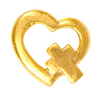 Gold Heart with Cross Pin