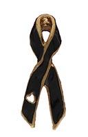 Black Memorial Ribbon Pin with Heart
